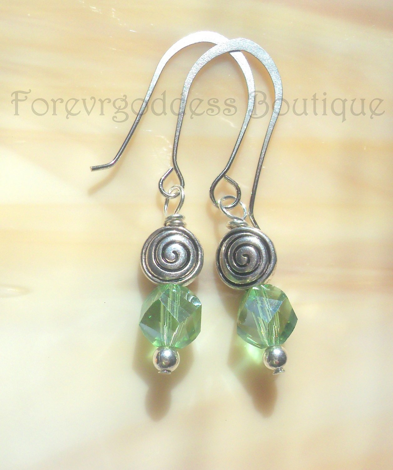 Green crystals with Swirl earrings