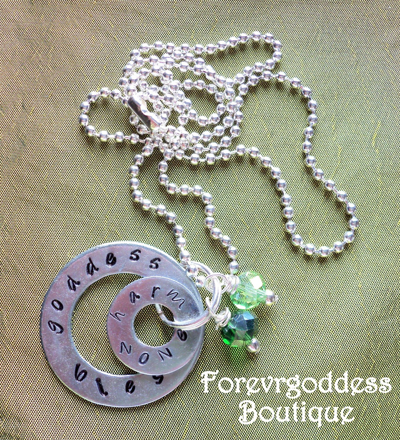 Goddess bless/ Harm None necklace