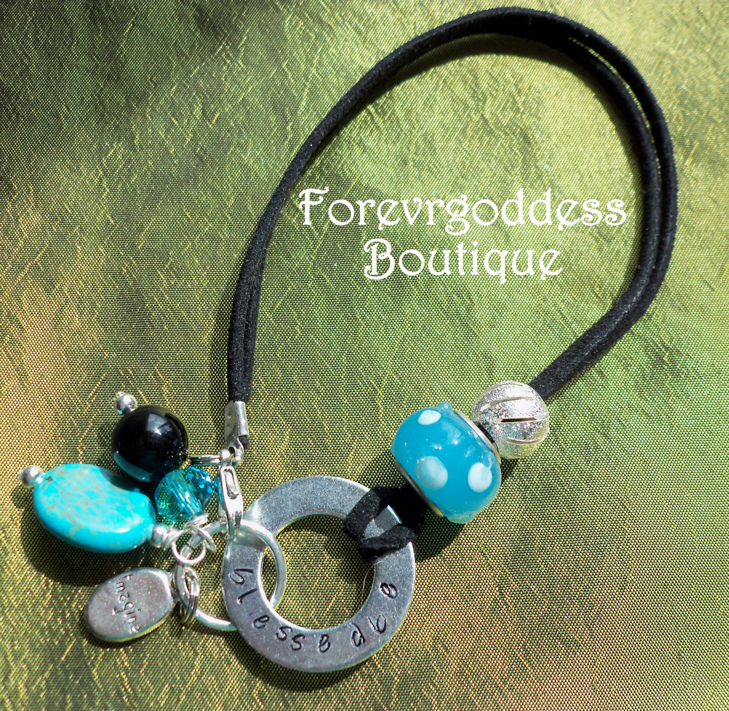 Blessed Be/Turquoise Leather Bracelet