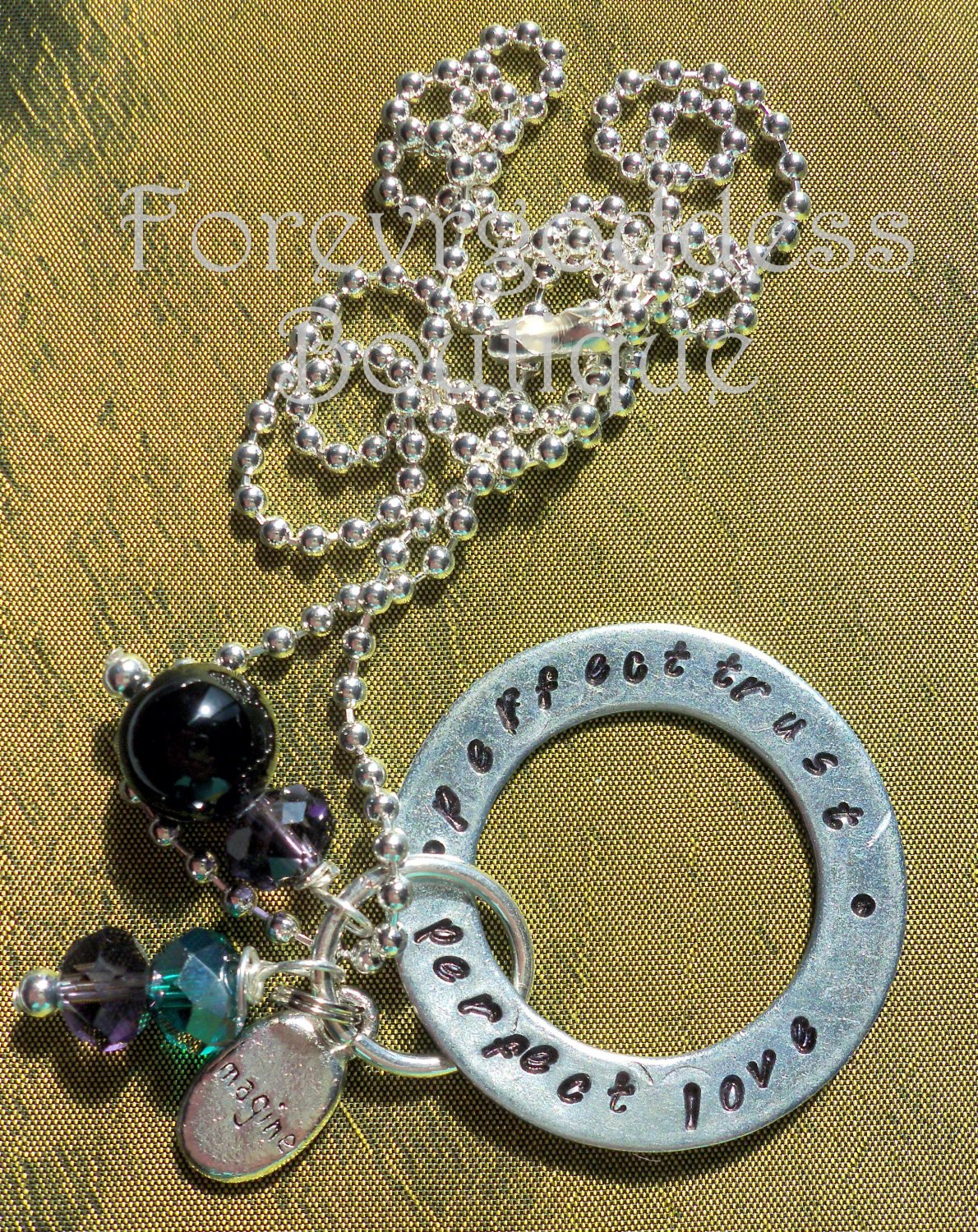 Perfect love, Prefect trust /Onyx necklace