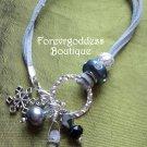 Blue pearl ,snowflake   Bracelet set