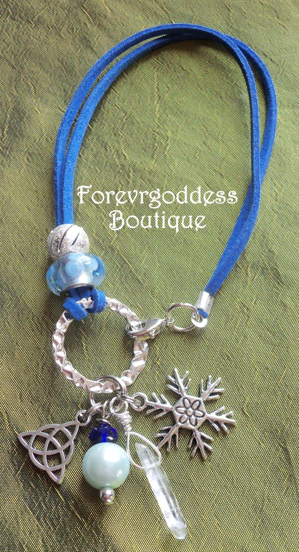 Blue polka /  crystal  point  Bracelet set