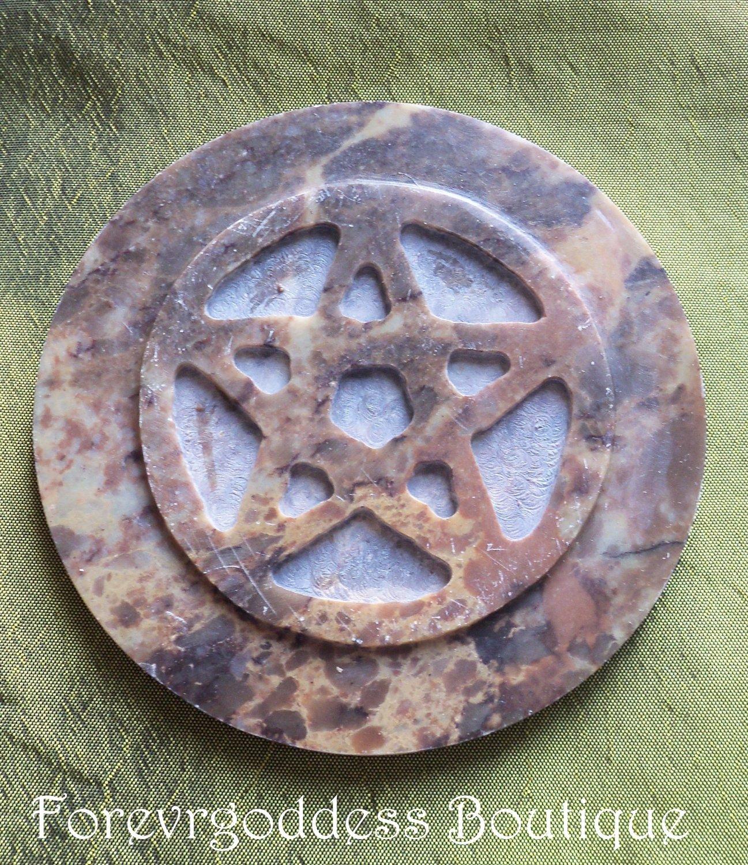Soap stone Pentacle altar tile Item# SSP