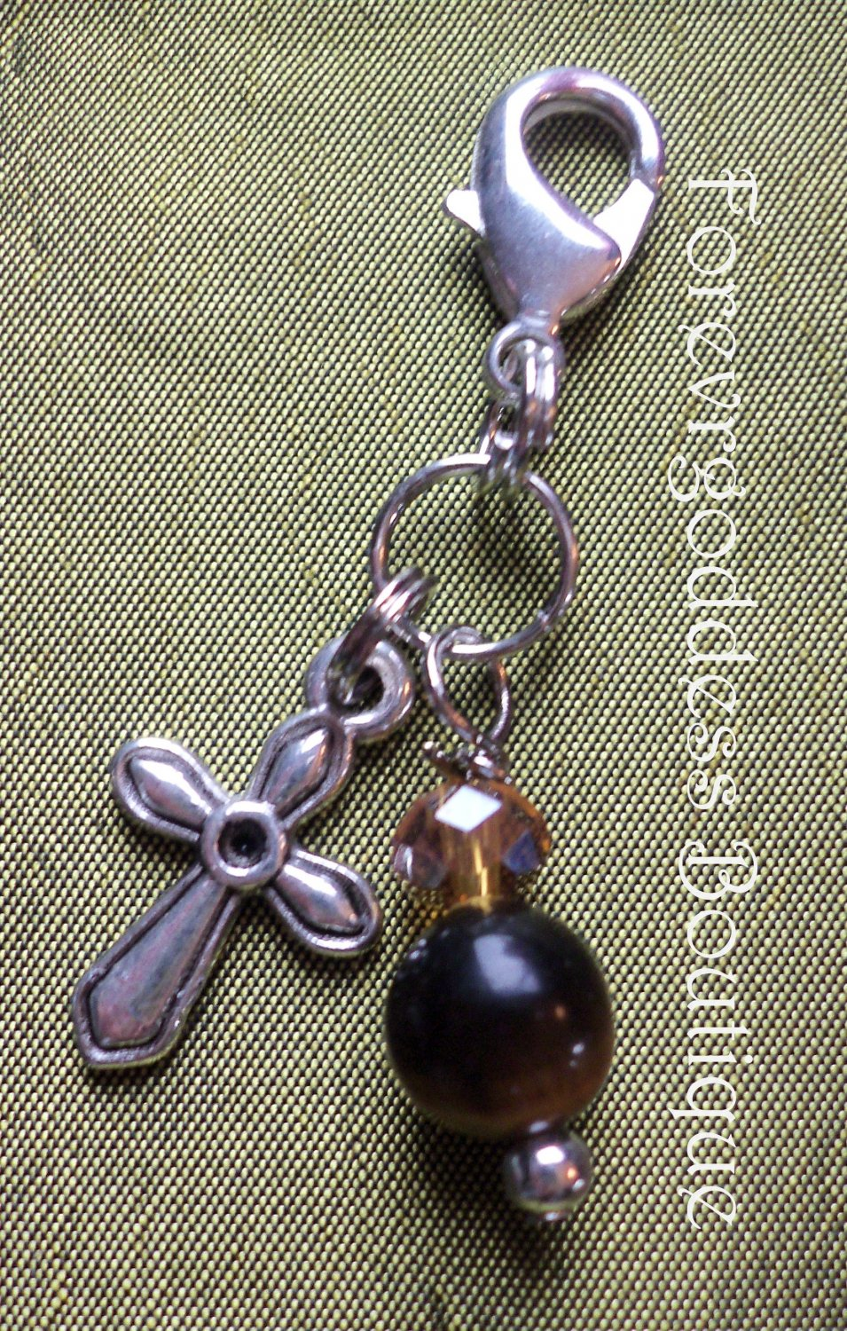 Gold tiger eye / Cross pet pendant  Item # PFCT 01