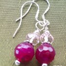 Plum Agate  sterling silver earrings