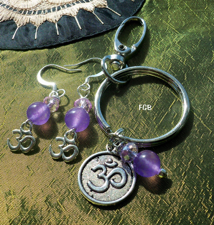 Purple Jade  Keychain earrings