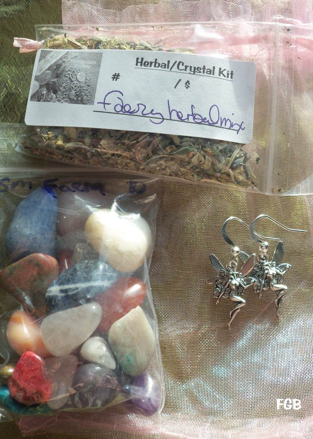Faery Ears Crystal / herbs mix  Earring # FHE 01- 02