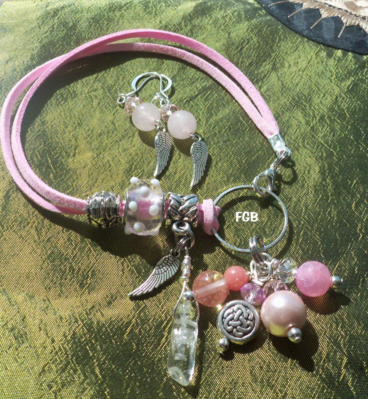 Crystal quartz Pink Leather Bracelet set