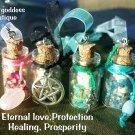4 Spell Bottle Ornament Protection  Set # 2