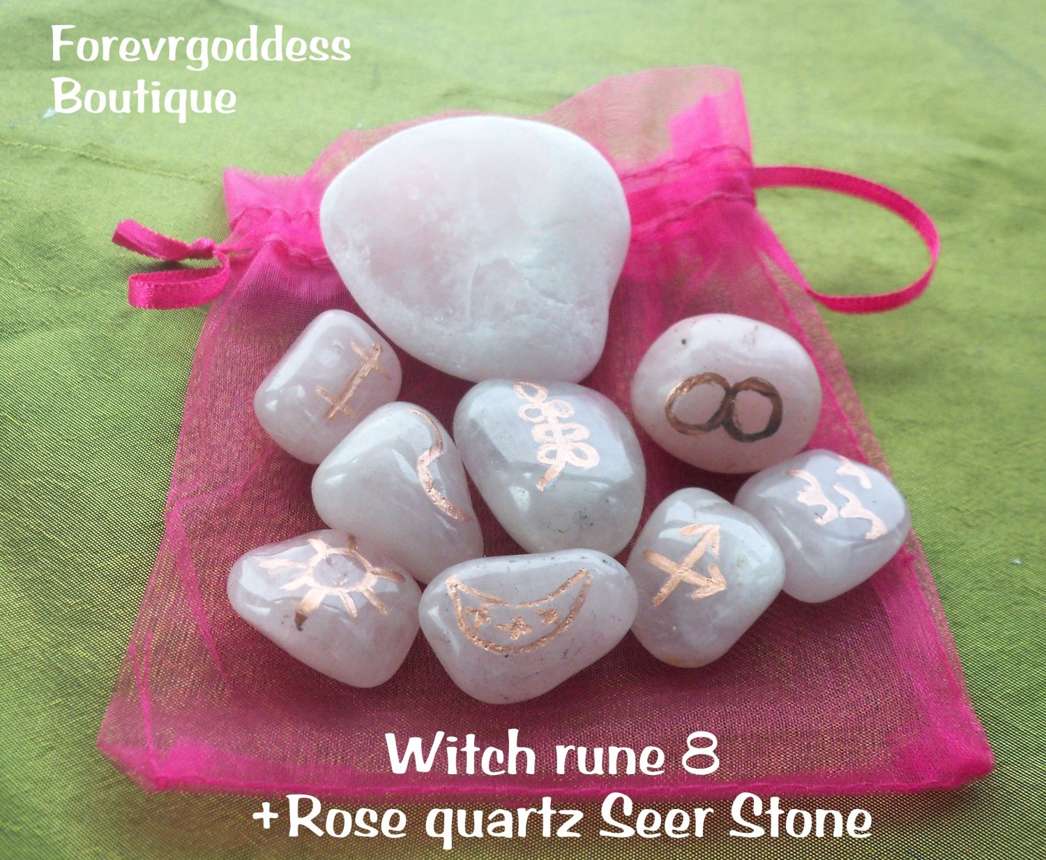 Witches runes  8- Rose quartz /rose quartz Seer Stone