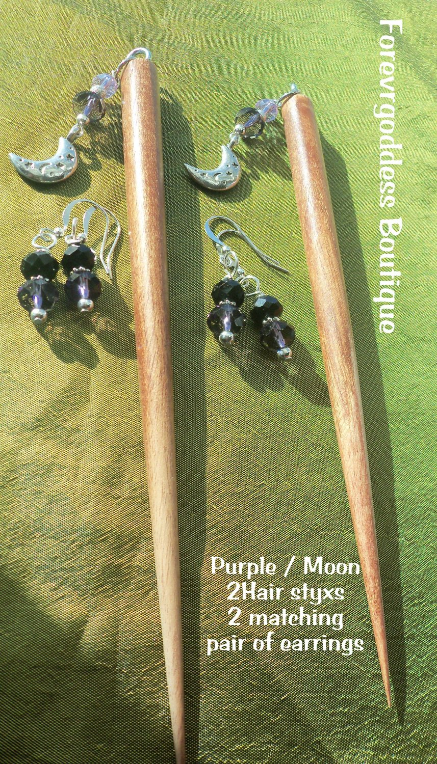 2 Hair Styx  Purple / Moon  set