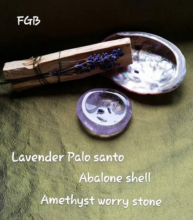 Palo santo amethyst worry stone set