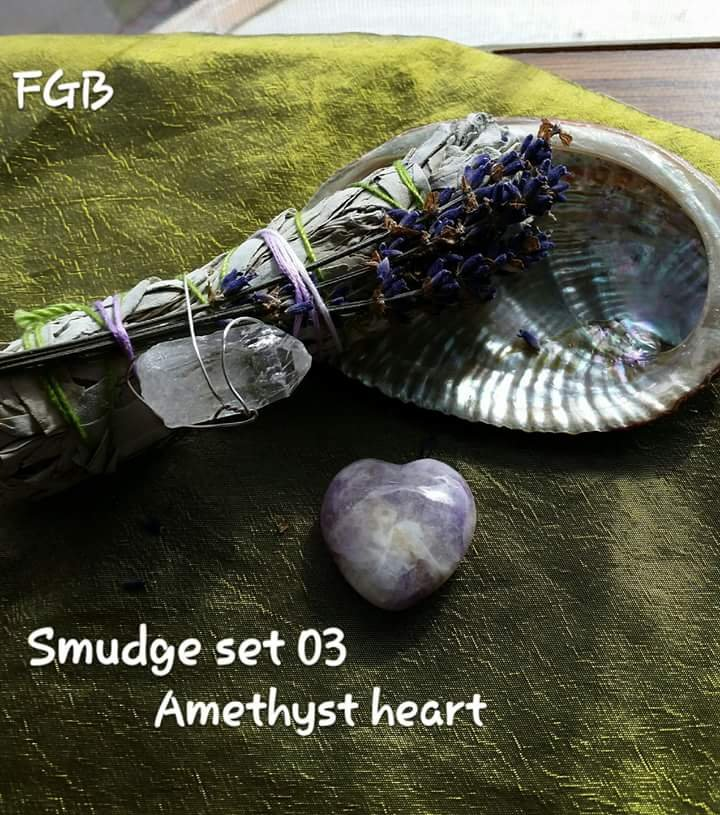 Lavendar sage bundle with amethyst heart