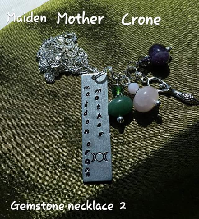Triple goddess gemstone necklace #02