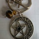 Tiger eye pentacle keychain