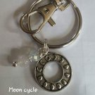 Lunar cycle moonstone keychain