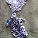 Owl crescent moon pentacle necklace