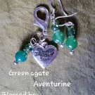 Pet pendants Green agate /aventurine blessed be