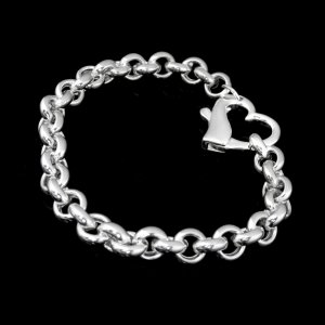 Sterling Silver Bracelet with Heart Clasp