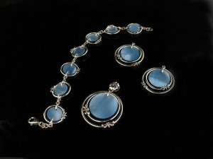 Sterling Silver Flower Dragonfly Pendant, Bracelet & Earrings - Blue