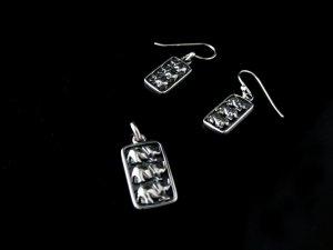 Sterling Silver Triple Elephant Pendant & Earrings