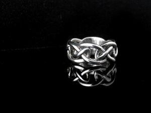 Criss Cross Sterling Silver Men's Ring