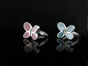 Butterfly MOP Sterling Silver Ring in Blue
