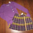 NWT Girls CHILDRENS PLACE Sz XL (14) L/S Lavender SHIRT & Sz 14 SKIRT SKORT Yell
