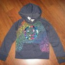NWT LIMITED TOO Size 6 HOODIE JACKET SWEATSHIRT Fleece Gray w/Foil SMILEY FACE