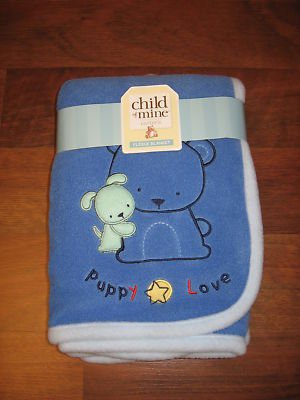NEW Carters CHILD OF MINE Fleece 'Puppy Love' BLANKET Blue SUPER SOFT *BRAND NEW