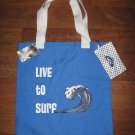 NWT ROXY Beach TOTE BAG Blue &quot;Can&#39;t Get Enuf&quot; w/CHANGE PURSE &#39;Live to Surf&#39; NEW