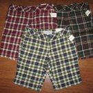 NWT Junior Girls Sz 1/2 AEROPOSTALE Plaid SHORTS Stretch BERMUDA BlueBrownMaroon