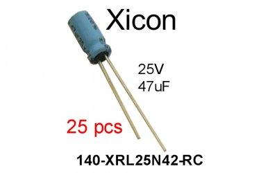 140-XRL25V47-RC, Xicon, Alum. Electrolytic Capacitor, 47uF, 25V, 20% [25 pcs] [A]
