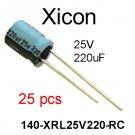 140-XRL25V220-RC, Xicon, Alum. Electrolytic Capacitor, 220uF, 25V, 20% [25 pcs] [A]