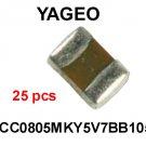 CC0805MKY5V7BB105, Yageo, CAPACITOR, CERAMIC, 16V, 1 uF, 0805 [25 pcs] [H]