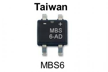 MBS6, Taiwan, Single Phase Bridge Rectifier, 0.8A, 420V, [O]