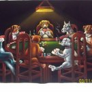 DOGS PLAYING POKER BLACK VELVET OIL PAINTING, 24 BY 36 INCHES,SPECIAL PRICE