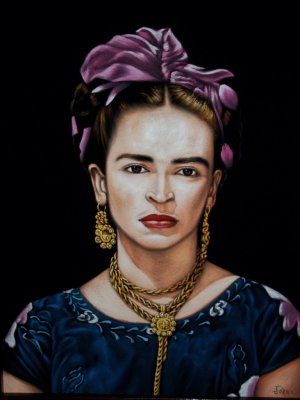 Frida Kahlo black velvet oil painting, 18 by 24 inches, %100 handpianted