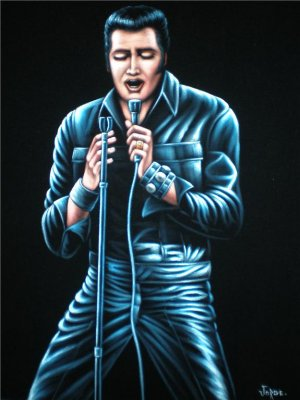 Young Elvis Presley black velvet oil painting