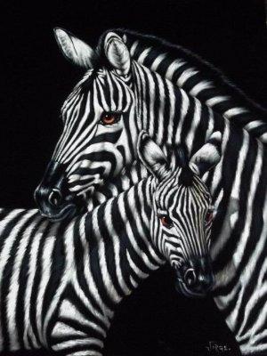 Zebra black velvet oil painting