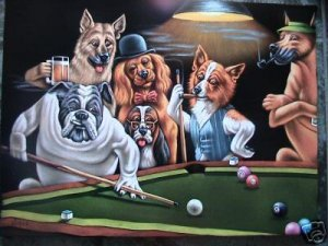 DOGS PLAYING POOL BLACK VELVET OIL PAINTING, 18 BY 24 INCHES, 100% HANDPAINTED