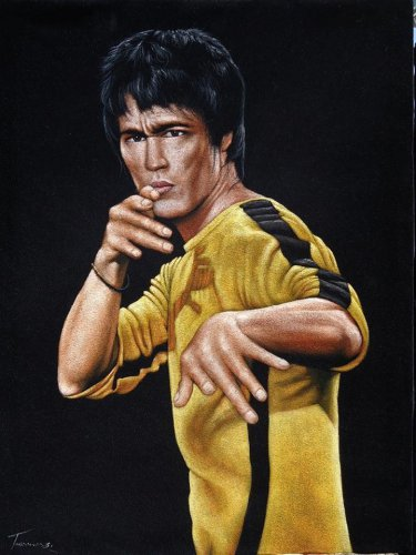 Bruce Lee Game of death Yellow suit black velvet oil painting