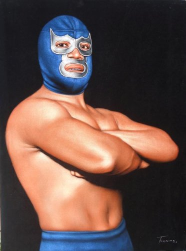 Blue Demon Mexican wrestling black velvet oil painting, 100% handpainted