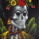 Frida Kahlo inmortality black velvet oil painting. 18 by 24 inches