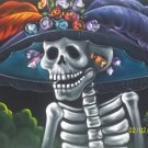 La catrina black velvet oil painting. 18 by 24 inches