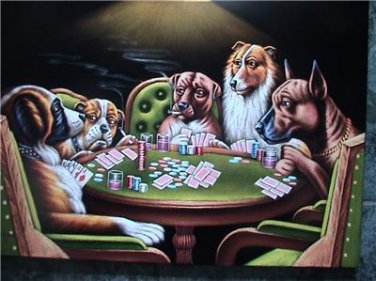 DOGS PLAYING POKER BLACK VELVET OIL PAINTING, 18 BY 24 INCHES, 100% handpainted art