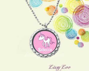 Personalized Unicorn Bottle Cap Necklace
