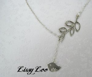 Lariat Bird with Branch Silver Plated Necklace , Perfect Mothers day Gift !