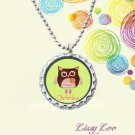 Peace Owl Personalized Bottle cap Necklace