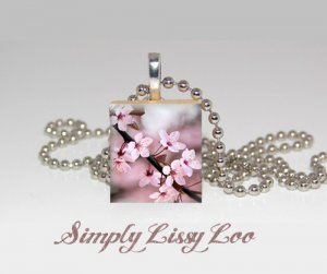 Cherry Blossom Branch Scrabble Tile Necklace